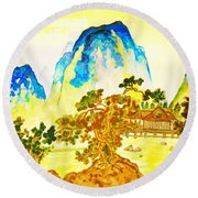 House In Mountains Round Beach Towel