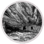 House On Fire Ruin Utah Monochrome 2 Round Beach Towel