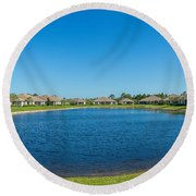 Houses Around Small Lake In North Port Round Beach Towel