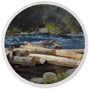 Hudson River Round Beach Towel by Winslow Homer