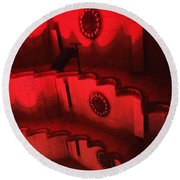 Hues Of Massey Hall - Red Round Beach Towel