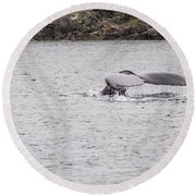 Humpback Whales 3 Round Beach Towel