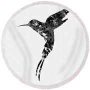 Hummingbird-black Round Beach Towel