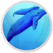 Humpback Mother Whale And Calf #21 Round Beach Towel