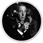 Humphrey Bogart Portrait #1 Circa 1954-2014 Round Beach Towel