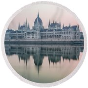 Hungarian Parliament In The Morning Round Beach Towel
