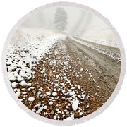 Ice Fog In Cypress Hills Provincial Park Of Saskatchewan Round Beach Towel