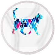 Ice Triangles Cats Round Beach Towel
