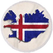 Iceland Map Art With Flag Design Round Beach Towel