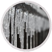 Icicles At Attention Round Beach Towel