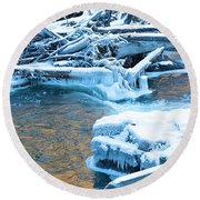 Icy Blue River Round Beach Towel