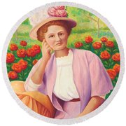 Ida In The Garden Round Beach Towel
