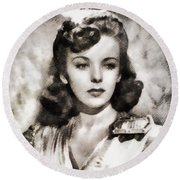 Ida Lupino, Vintage Actress Round Beach Towel