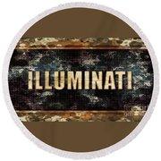 Illuminati Pop Art By Mary Bassett Round Beach Towel