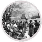 Immigrants On Ship, 1887 Round Beach Towel