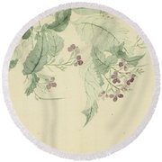 Impatiens Round Beach Towel