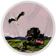 In The Field 29 Round Beach Towel