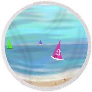 In The Pink - Sailing In Tropical Waters Round Beach Towel
