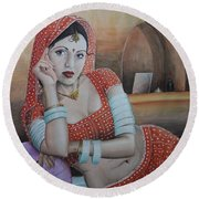 Indian Rajasthani Woman Round Beach Towel