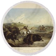 Indians Hunting The Bison Round Beach Towel