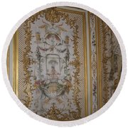 Inside Chantilly Castle France Round Beach Towel