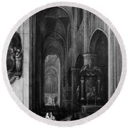 Interior Of A Gothic Church At Night Round Beach Towel