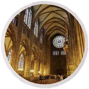 Interior Of Strasbourg Cathedral Round Beach Towel
