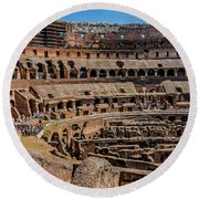 Interior Of The Coliseum, Rome, Italy Round Beach Towel
