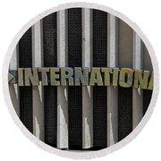 International Semi Truck Emblem Round Beach Towel