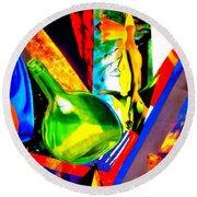 Intersections Abstract Collage Round Beach Towel