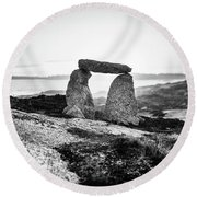Inukshuk At Sunset, Terence Bay, Nova Scotia Round Beach Towel