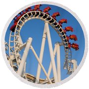 Inverted Roller Coaster Round Beach Towel