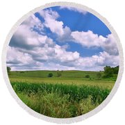 Iowa Cornfield Round Beach Towel
