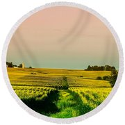Iowa Cornfield Panorama Round Beach Towel