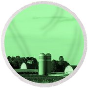 Iowa Farm Panorama Round Beach Towel