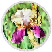 Iris Flower Round Beach Towel