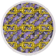 Iron Chains With Mosaic Seamless Texture Round Beach Towel