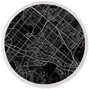 Irvine California Usa Dark Map Round Beach Towel