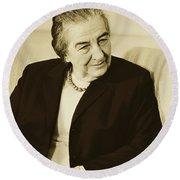Israel Prime Minister Golda Meir 1973 Round Beach Towel