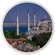 Istanbul's Blue Mosque Round Beach Towel