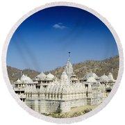 Jain Temple Of Ranakpur Round Beach Towel