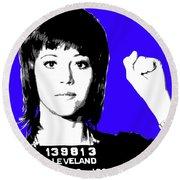 Jane Fonda Mug Shot - Blue Round Beach Towel