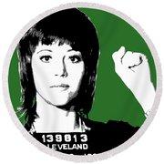 Jane Fonda Mug Shot - Green Round Beach Towel