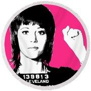 Jane Fonda Mug Shot - Pink Round Beach Towel