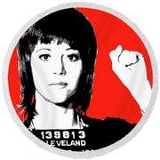 Jane Fonda Mug Shot - Red Round Beach Towel