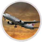 Japan Airlines Boeing 767-346 Round Beach Towel