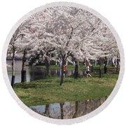 Japanese Cherry Blossom Trees Round Beach Towel