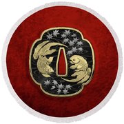Japanese Katana Tsuba - Twin Gold Fish On Black Steel Over Red Velvet Round Beach Towel