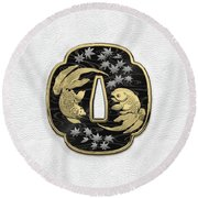Japanese Katana Tsuba - Twin Gold Fish On Black Steel Over White Leather Round Beach Towel