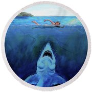 Jaws  Revisited Round Beach Towel